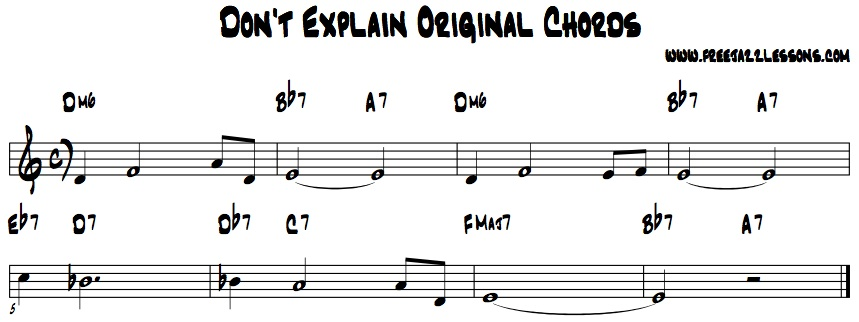 Don't Explain Jazz Chords Billie Holiday