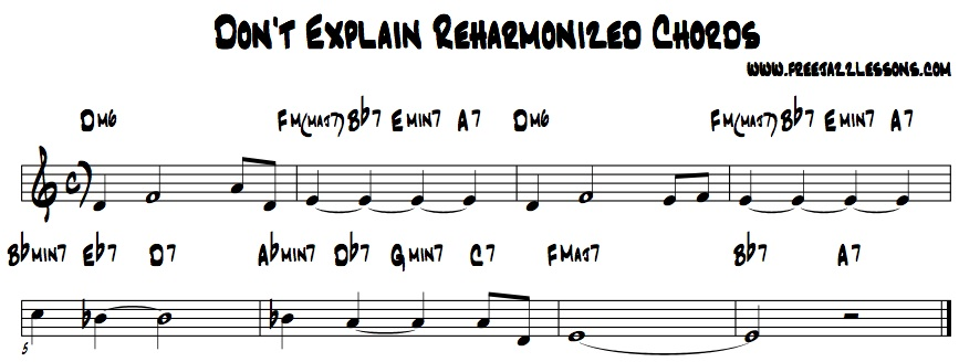Don't Explain Jazz Piano Reharmonization